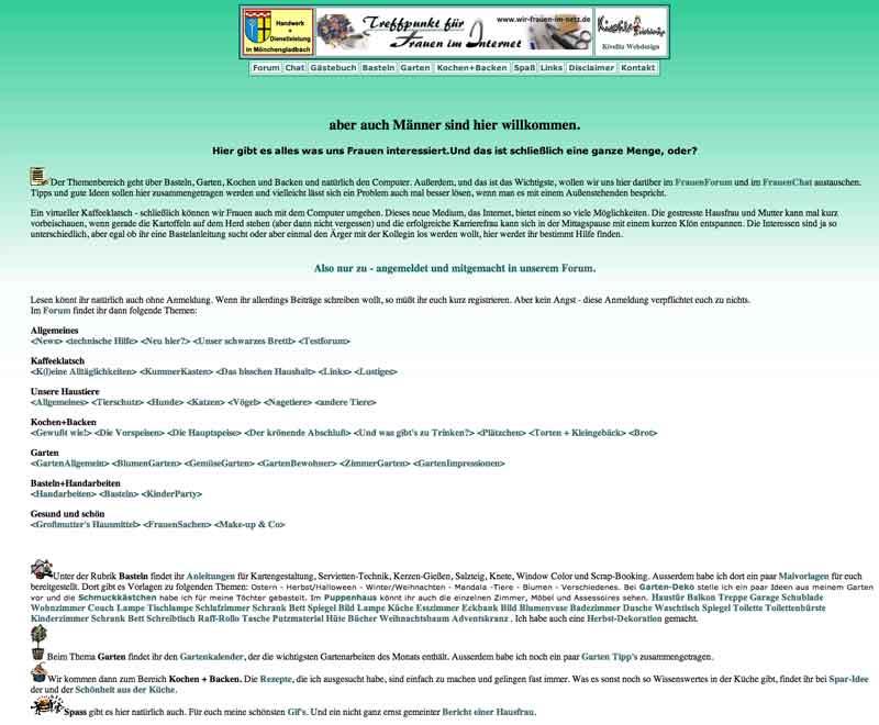 Alte Webseite von wir-frauen-im-netz.de