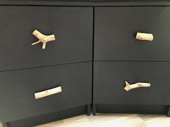 Schubladengriffe aus Baumästen
